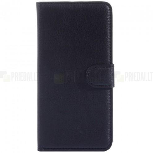 OnePlus One atverčiamas juodas odinis Litchi dėklas - piniginė