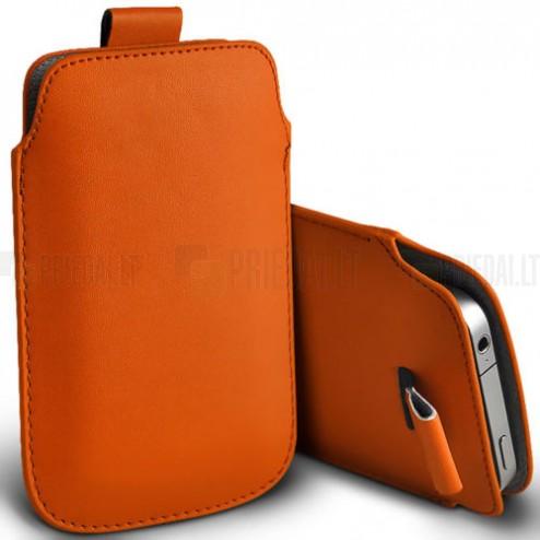 Universali oranžinė odinė įmautė - dėklas (L dydis)