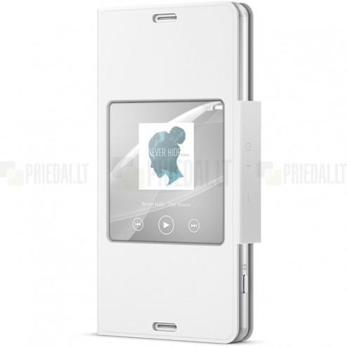 Oficialius Sony Xperia Z3 Compact Style Cover Window baltas atverčiamas dėklas SCR26