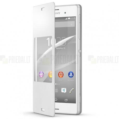 Oficialius Sony Xperia Z3 Style Cover Window baltas atverčiamas dėklas SCR24