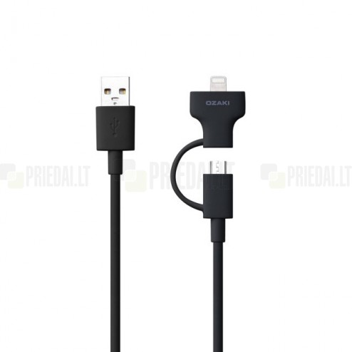 """""""Ozaki"""" O!tool-Combo juodas laidas (micro USB ir Lightning)"""