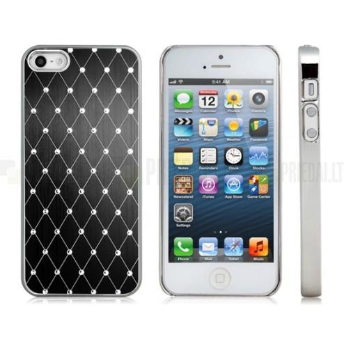 Apple iPhone SE (5, 5s) elegantiškas juodas dėklas su blizgučiais