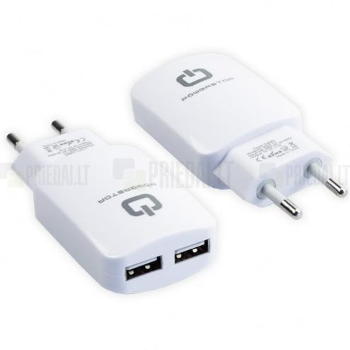 """""""PowerStar"""" kelioninis (sieninis) įkroviklis su dviem USB lizdais"""