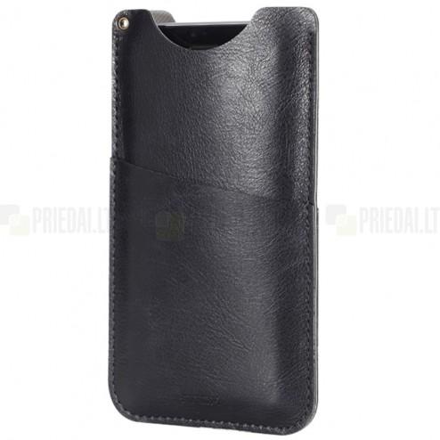 "Solidi ""Rock"" Slim juoda odinė universali telefono įmautė (XL dydis)"
