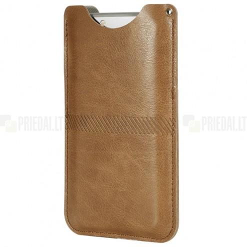 "Solidi ""Rock"" Slim ruda odinė universali telefono įmautė (L dydis)"
