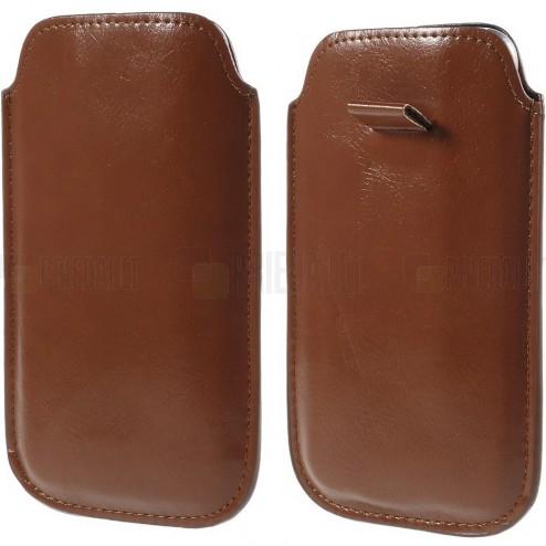 Ruda odinė įmautė telefonui (L+ dydis)