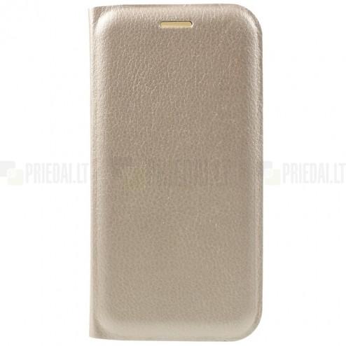 Samsung Galaxy A5 2017 (A520) auksinis odinis atverčiamas Smart Wallet dėklas - piniginė