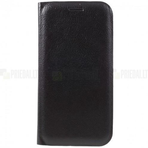 Samsung Galaxy A5 2017 (A520) juodas odinis atverčiamas Smart Wallet dėklas - piniginė