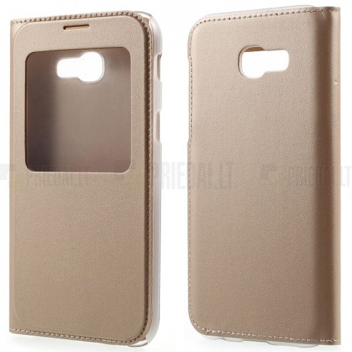 Samsung Galaxy A5 2017 (A520) auksinis odinis atverčiamas dėklas su langeliu