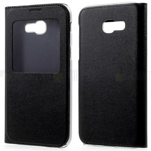 Samsung Galaxy A5 2017 (A520) juodas odinis atverčiamas dėklas su langeliu