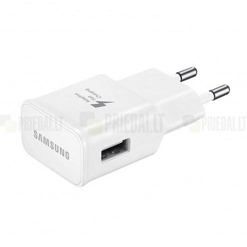 """Originalus """"Samsung"""" Adaptive Fast Charging baltas kelioninis (sieninis) įkroviklis (Europinis modelis, 2 Amp) su micro USB laidu (komplektas)"""