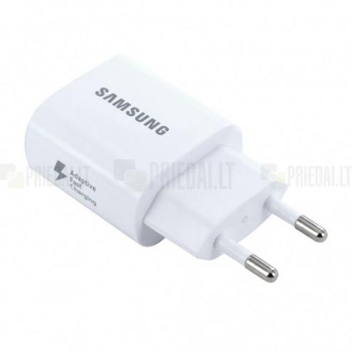 "Originalus ""Samsung"" Adaptive Fast Charging EP-TA600 baltas kelioninis (sieninis) įkroviklis (Europinis modelis, 2 Amp)"