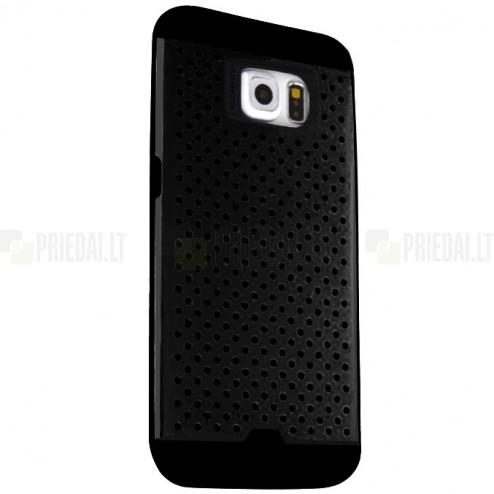 Sustiprintos apsaugos Samsung Galaxy S6 G920 juodas kieto silikono (TPU) ir plastiko dėklas
