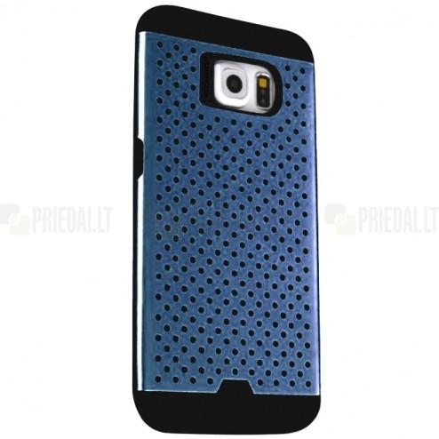 Sustiprintos apsaugos Samsung Galaxy S6 G920 mėlynas kieto silikono (TPU) ir plastiko dėklas