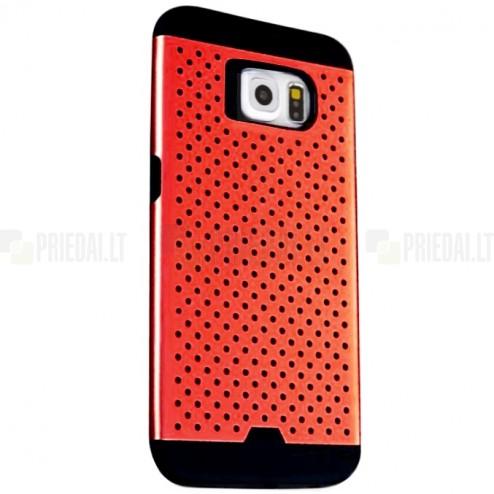 Sustiprintos apsaugos Samsung Galaxy S6 G920 raudonas kieto silikono (TPU) ir plastiko dėklas