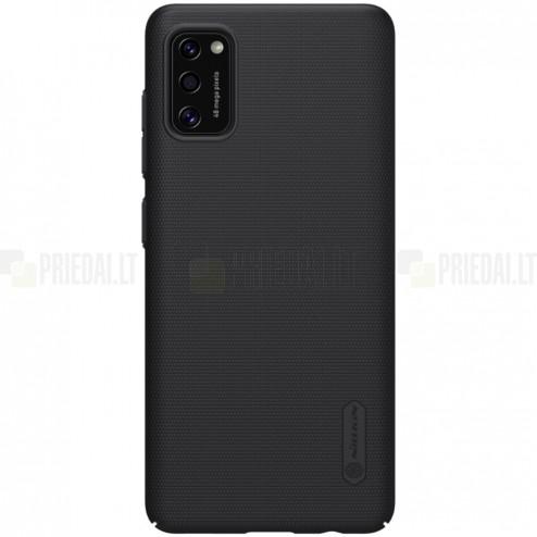 """Samsung Galaxy A41 """"Nillkin"""" Frosted Shield juodas plastikinis dėklas, nugarėlė"""