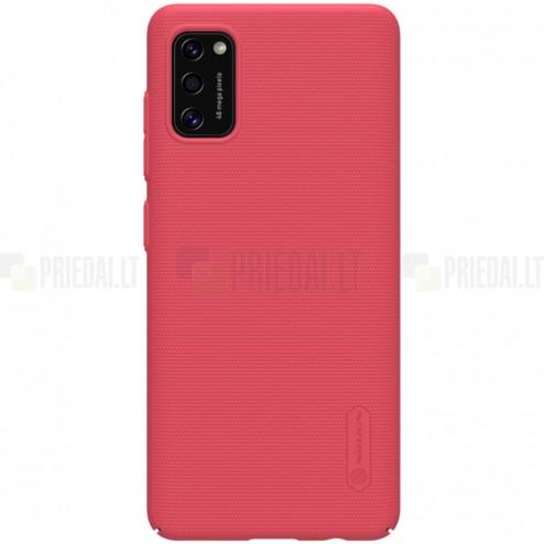 """Samsung Galaxy A41 """"Nillkin"""" Frosted Shield raudonas plastikinis dėklas, nugarėlė"""