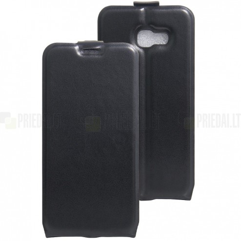 Samsung Galaxy A5 2017 (A520) vertikaliai atverčiamas juodas odinis dėklas - piniginė