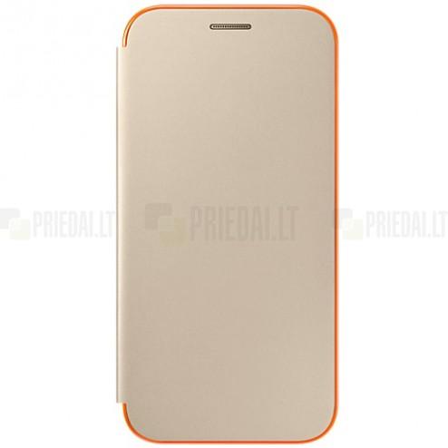 Samsung Galaxy A5 (2017) A520 originalus Neon Flip Cover EF-FA520 atverčiamas auksinis odinis dėklas - piniginė