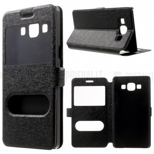 Samsung Galaxy A5 (A500) dual window atverčiamas juodas dėklas