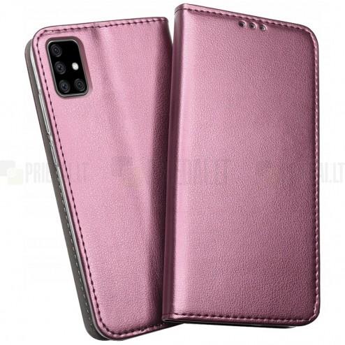 Shell Skin serijos Samsung Galaxy A51 (A515F) bordo odinis atverčiamas dėkla