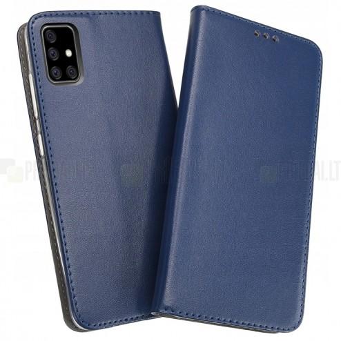 Shell Skin serijos Samsung Galaxy A51 (A515F) mėlynas odinis atverčiamas dėkla