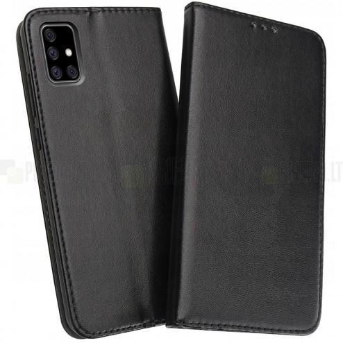 Shell Skin serijos Samsung Galaxy A71 (A515F) juodas odinis atverčiamas dėkla