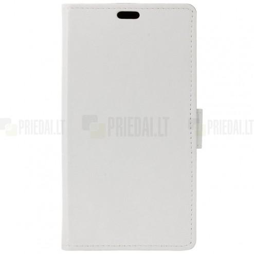 Samsung Galaxy J1 mini (J105) atverčiamas baltas odinis dėklas - piniginė