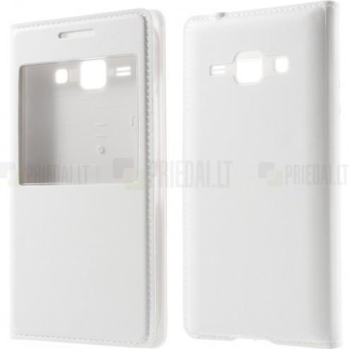 """Samsung Galaxy J1 baltas odinis atverčiamas """"Smart Window"""" dėklas su langeliu"""