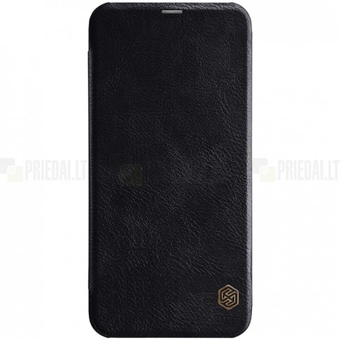"""Prabangus """"Nillkin"""" Qin serijos juodas odinis atverčiamas Samsung Galaxy J6+ 2018 (J610) dėklas"""