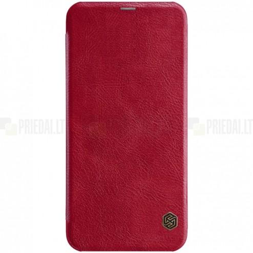 """Prabangus """"Nillkin"""" Qin serijos raudonas odinis atverčiamas Samsung Galaxy J6+ 2018 (J610) dėklas"""