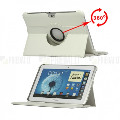 Atverčiamas baltas odinis Samsung Galaxy Note 10.1 N8000 (N8010) dėklas (dėkliukas), sukiojamas 360°