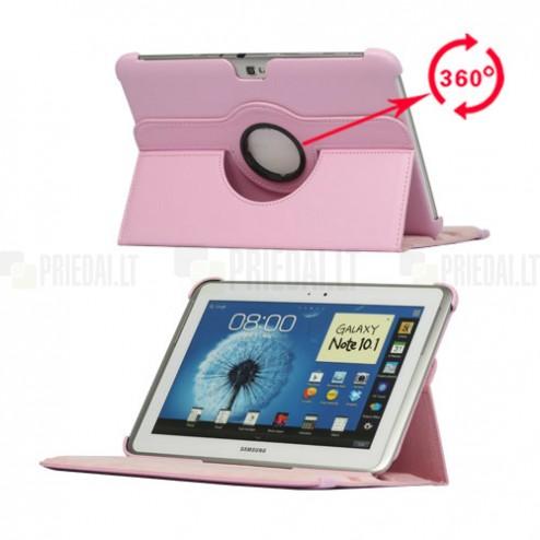 Atverčiamas rožinės odinis Samsung Galaxy Note 10.1 N8000 (N8010) dėklas (dėkliukas), sukiojamas 360°