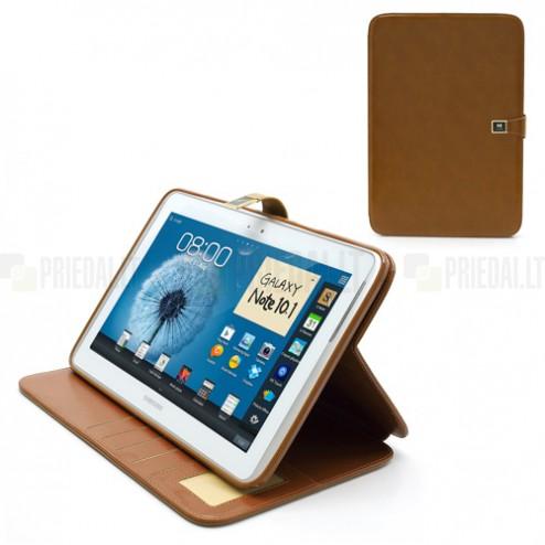 Atverčiamas rudas odinis Samsung Galaxy Note 10.1 N8000 (N8010) dėklas (dėkliukas) - piniginė