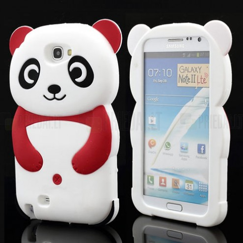 Samsung Galaxy Note 2 N7100 silikoninis panda baltas dėklas (dėkliukas)