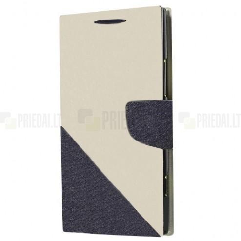 """""""Double"""" serijos Samsung Galaxy Note 3 (N9005, N9002, N9000) baltas, pilkas odinis atverčiamas dėklas"""