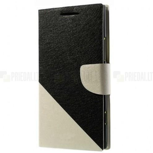"""""""Double"""" serijos Samsung Galaxy Note 3 (N9005, N9002, N9000) juodas, baltas odinis atverčiamas dėklas"""