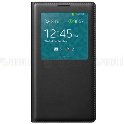 """Samsung Galaxy Note 3 juodas odinis atverčiamas """"View Window"""" dėklas su langeliu"""