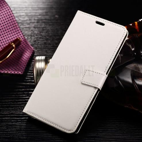 Samsung Galaxy Note 7 (N930) atverčiamas baltas odinis dėklas - piniginė