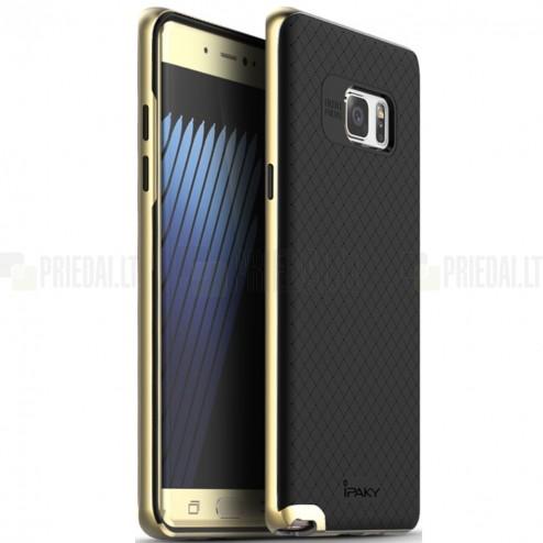 """Samsung Galaxy Note 7 (N930) """"IPAKY"""" kieto silikono TPU juodas (auksiniais apvadais) dėklas - nugarėlė"""