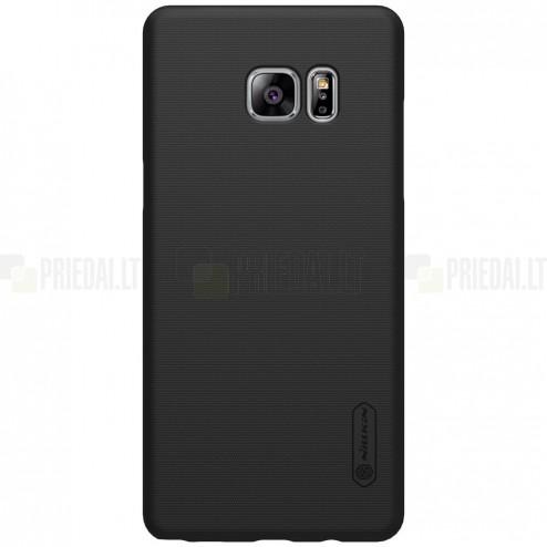 Nillkin Frosted Shield Samsung Galaxy Note 7 (N930) juodas plastikinis dėklas + apsauginė ekrano plėvelė