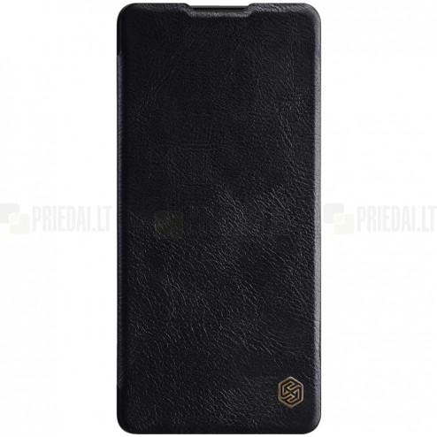 Prabangus Nillkin Qin serijos juodas odinis atverčiamas Samsung Galaxy S10 Lite (G970)