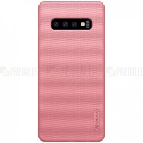 Samsung Galaxy S10 (G973) Nillkin Frosted Shield rožinis plastikinis dėklas
