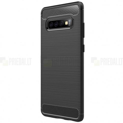 """Samsung Galaxy S10+ (G975) """"Carbon"""" kieto silikono TPU juodas dėklas - nugarėlė"""