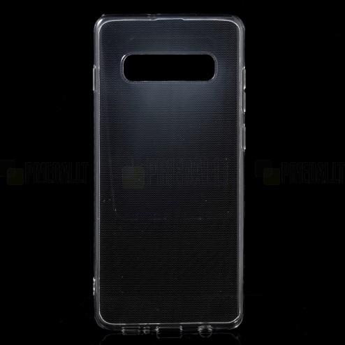 Samsung Galaxy S10+ (G975) kieto silikono TPU skaidrus pilkas dėklas - nugarėlė