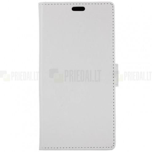 Samsung Galaxy S10e (G970) atverčiamas baltas odinis dėklas - piniginė
