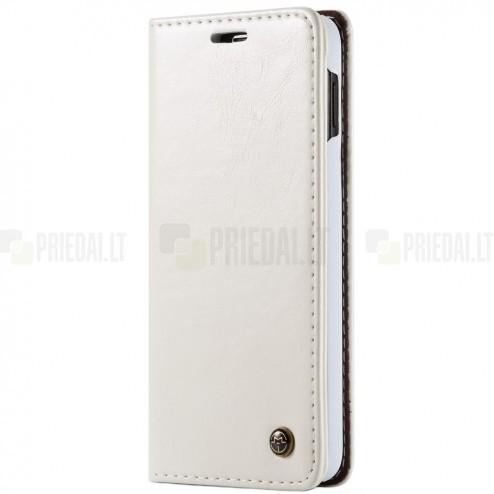 """Samsung Galaxy S10e (G970) """"CaseMe"""" solidus atverčiamas baltas odinis dėklas - knygutė"""