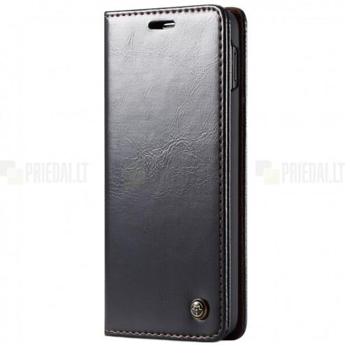 """Samsung Galaxy S10e (G970) """"CaseMe"""" solidus atverčiamas juodas odinis dėklas - knygutė"""