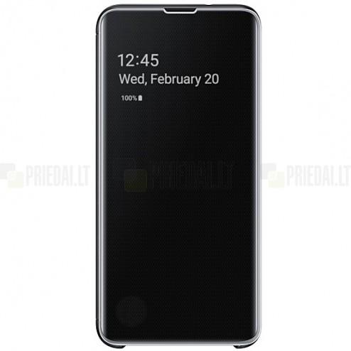 Samsung Galaxy S10e (G970) originalus Clear View Standing Cover atverčiamas juodas dėklas