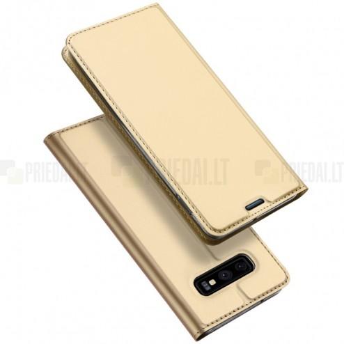 """""""Dux Ducis"""" Skin serijos Samsung Galaxy S10e (G970) auksinis odinis atverčiamas dėkla"""